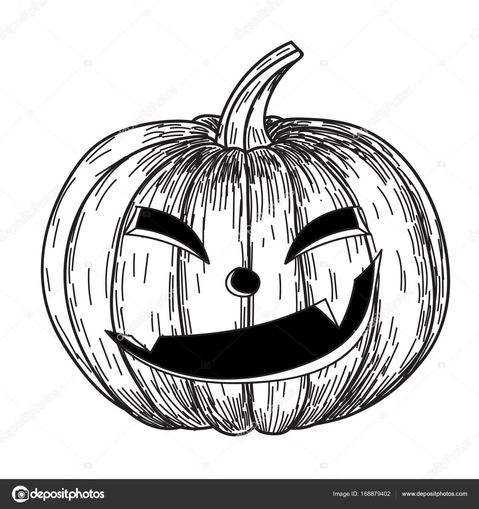 Halloween Pumpkin With Evil Scary Smile In Funny Hand Drawing
