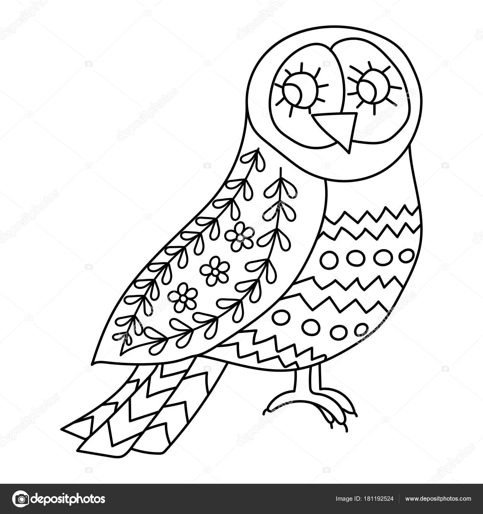 Coloring Book Or Pages For Adults Illustration Birds With Flowers