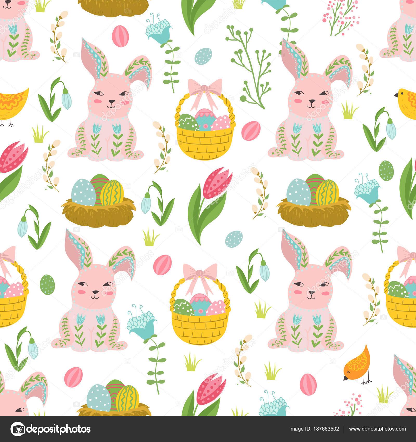Pascua concepto de patrones sin fisuras. lindo conejo y pollo en ...