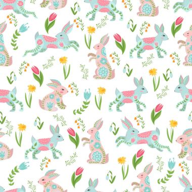 Easter concept seamless pattern. Cute rabbits in flowers. Seamless pattern