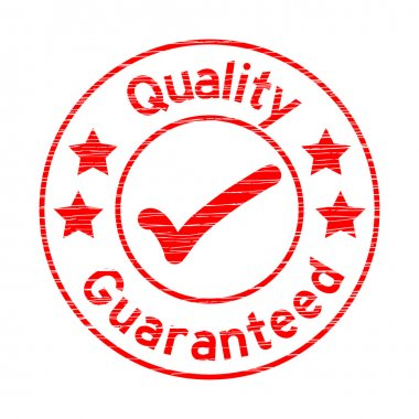 Grunge red round quality guarantee with right mark rubber stamp
