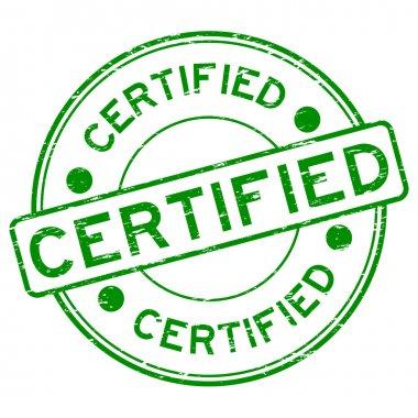 Grunge green round certified rubber stamp