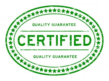 Grunge green certified quality guarantee rubber stamp