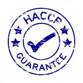 Fotografie Grunge blue HACCP guarantee rubber stamp