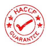 Fotografie Grunge red HACCP guarantee rubber stamp