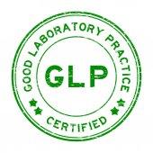 Grunge green GLP (Good Laboratory Practice) certified round rubb
