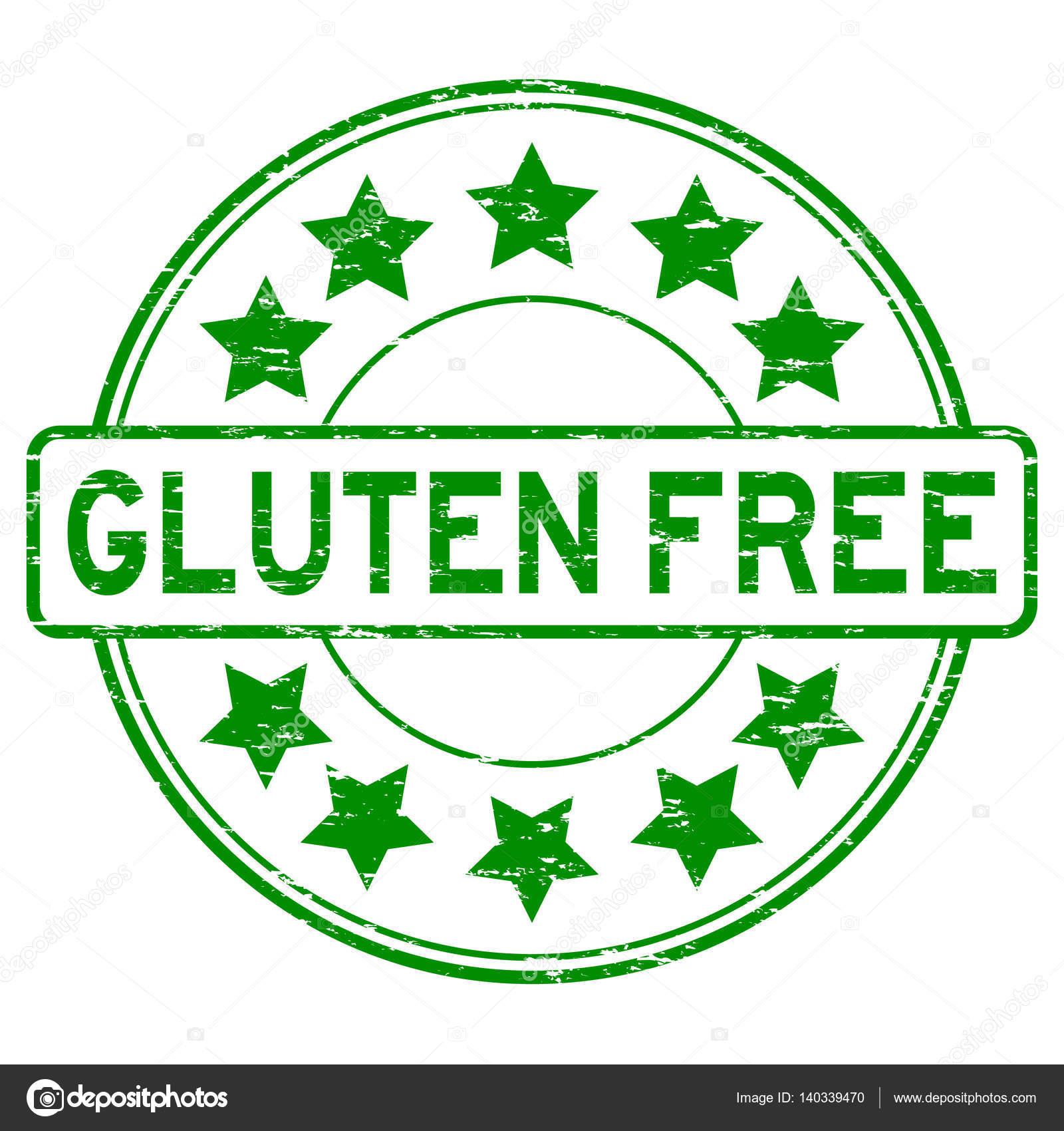 Grunge green Gluten free with star icon round rubber stamp