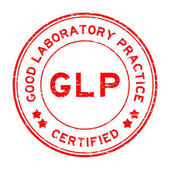 Grunge red GLP (Good Laboratory Practice) certified round rubber stamp