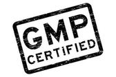 Grunge black GMP (Good Manufacturing Practices) certified square rubber stamp