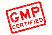 Grunge red GMP (Good Manufacturing Practices) certified square rubber stamp