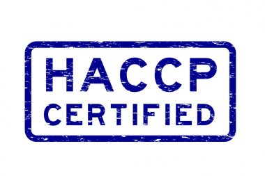 Grunge blue HACCP (Hazard Analysis and Critical Control Point) square rubber stamp