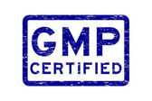 Grunge blue GMP (Good Manufacturing Practices) certified square rubber stamp