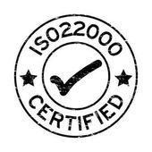 Grunge black ISO 22000 certified with mark icon round rubber sea