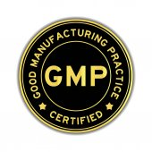 Fotografie Black and gold color GMP (Good Manufacturing Practice) certified round sticker on white background