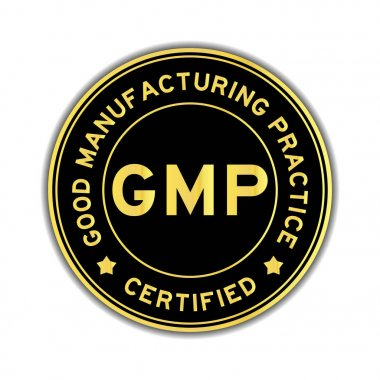 Black and gold color GMP (Good Manufacturing Practice) certified round sticker on white background