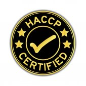Fotografie Black and gold color of HACCP (Hazard analysis and critical control points) certified round sticker on white background