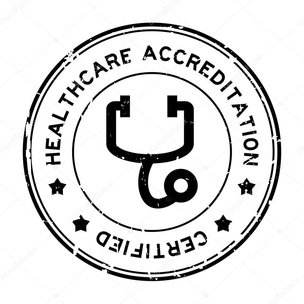 grunge black healthcare accreditation with stethoscope icon round  grunge black healthcare accreditation with stethoscope icon round rubber seal st on white background stock vector thaneeh gmail 166648572
