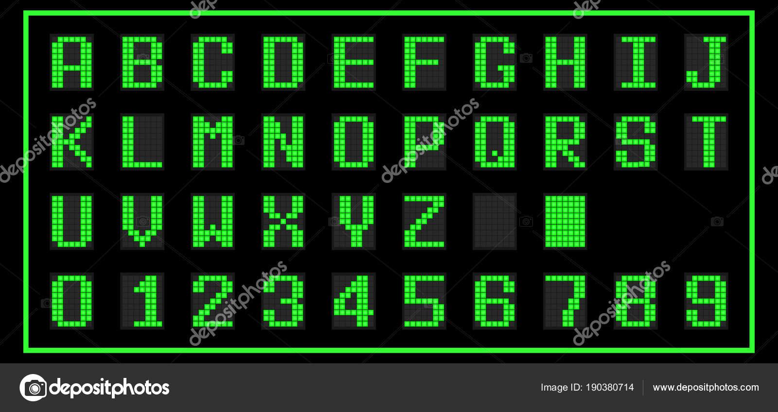 Green color of LED digital font on black background (Vector) — Stock ...