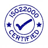 Grunge blue ISO 22000 certified with mark icon round rubber seal stamp on white background