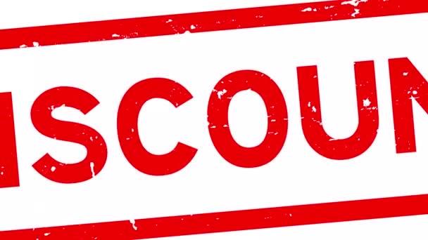 Grunge červená sleva slovo čtverec gumové razítko zoom v bílém pozadí
