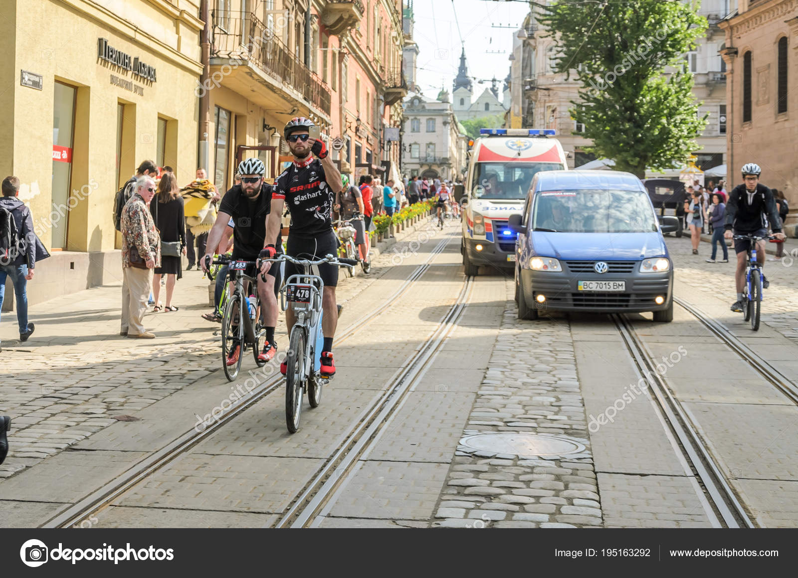 Lviv Ukraine May 2018 Cyclists Athletes Amateurs Bicycles Bicycle Form Stock Photo