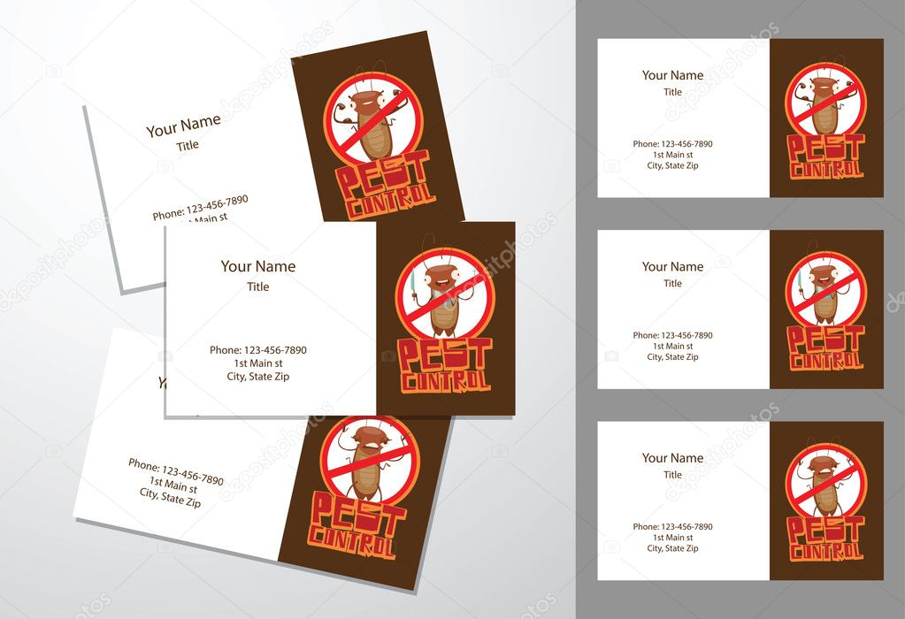 Three brown-white business cards, cockroaches with different act ...