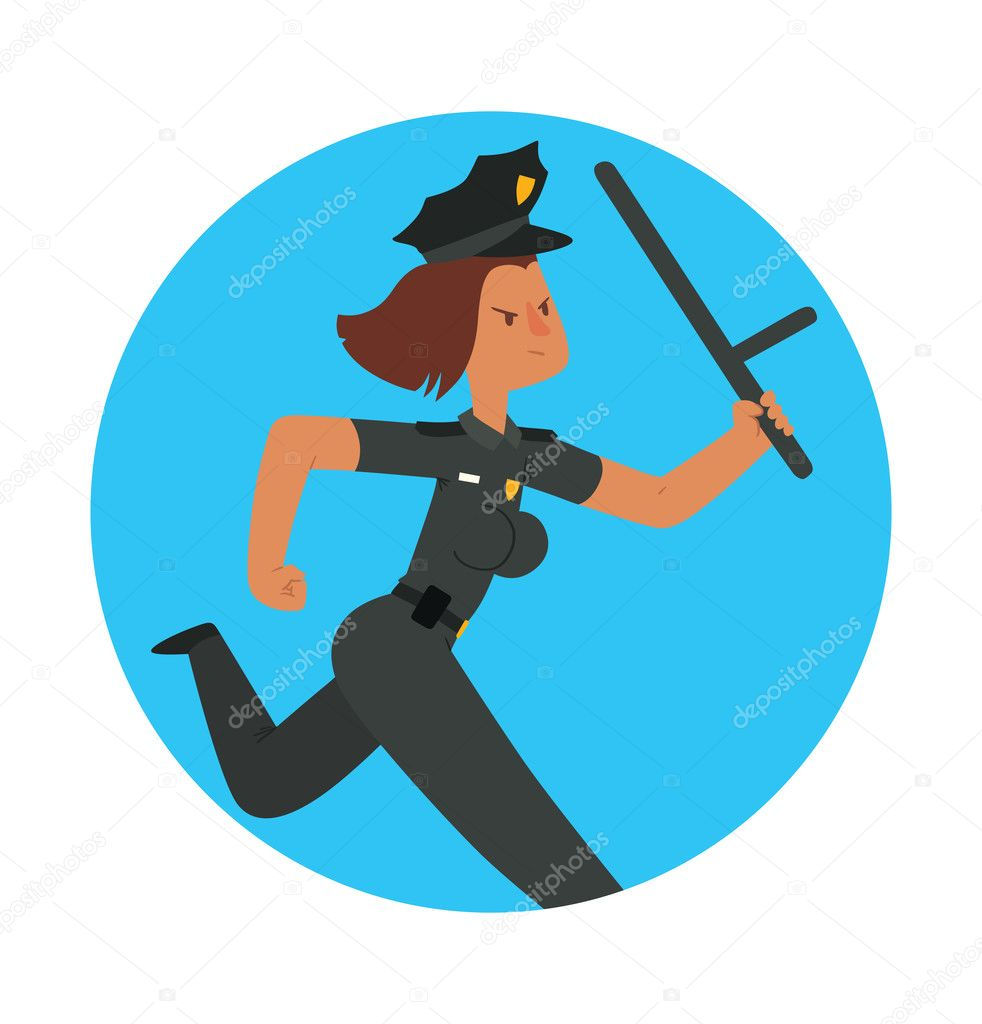 Round blue frame woman police officer with brown hair stock round blue frame woman police officer with brown hair stock vector jeuxipadfo Choice Image