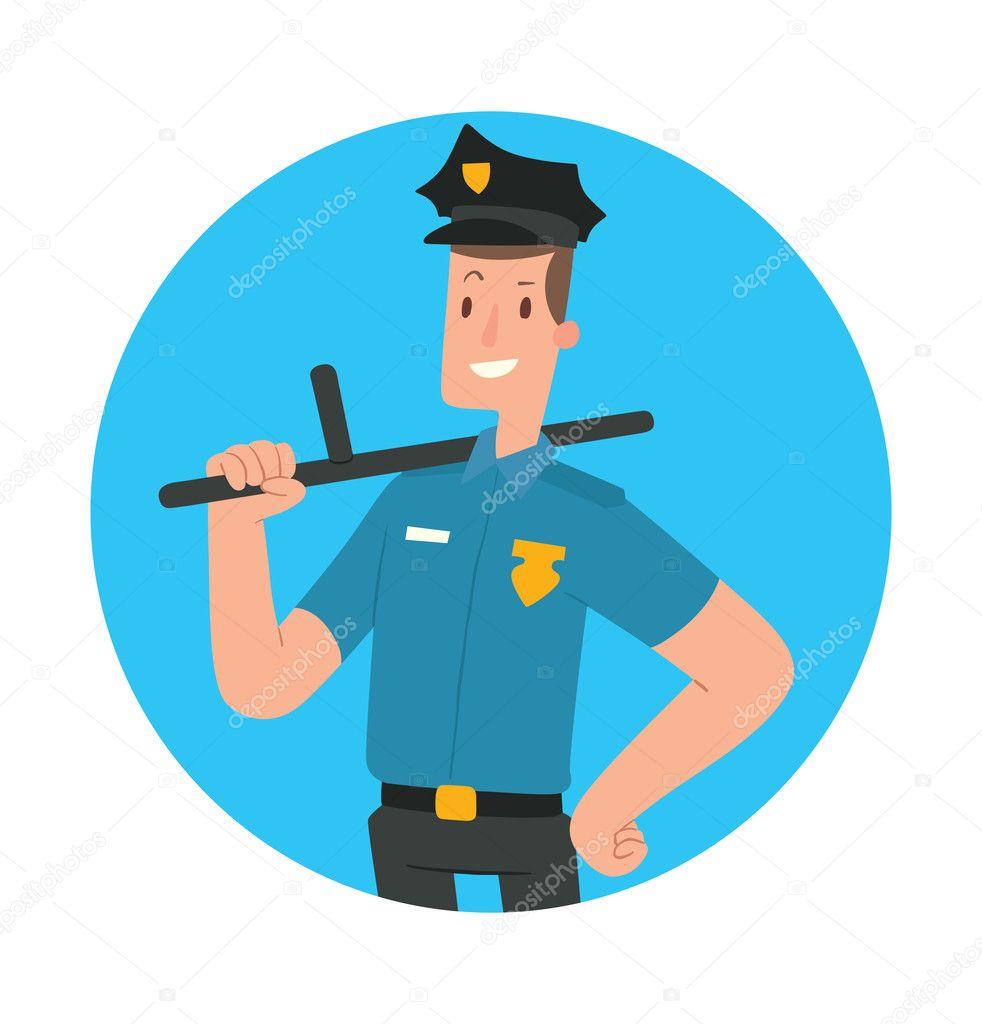 Round blue frame man police officer with black baton stock round blue frame man police officer with black baton stock vector jeuxipadfo Choice Image