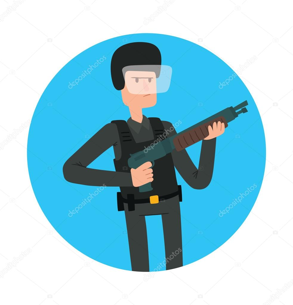 Round blue frame, man police officer with a shotgun — Stock Vector ...