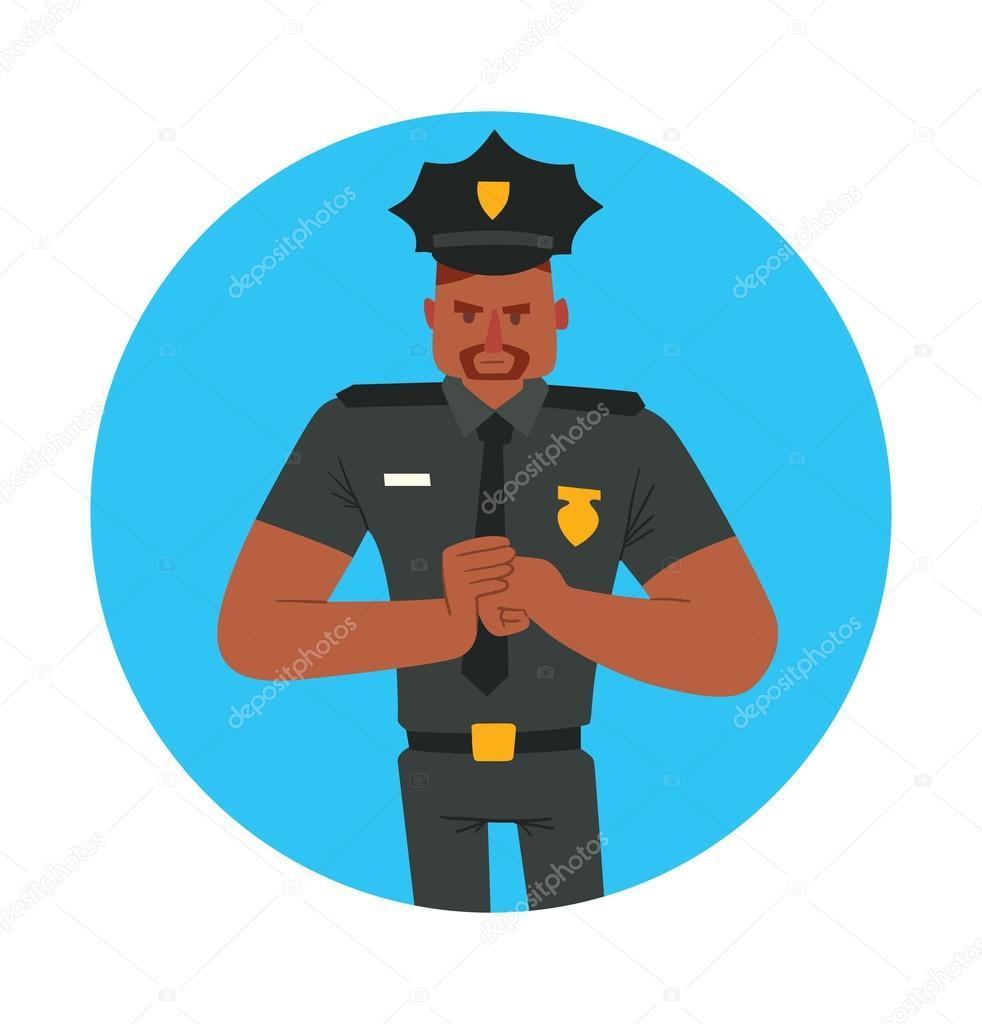 Ronda marco de azul, negro hombre policía — Vector de stock ...