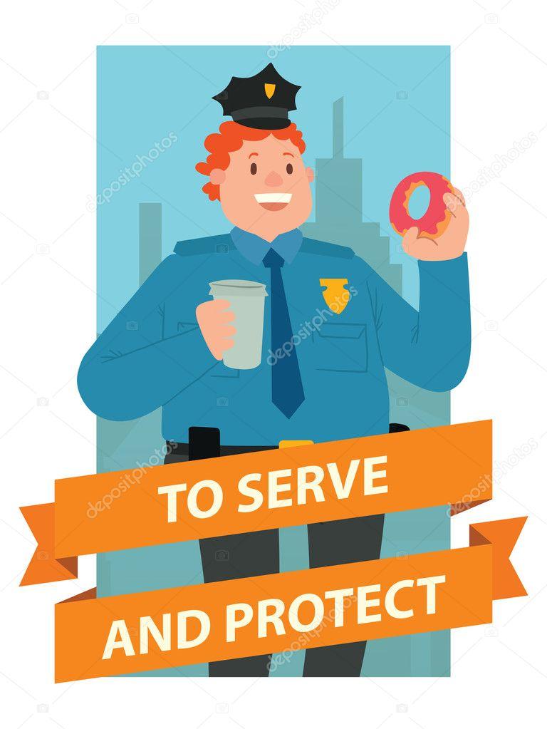 Marco rectangular azul, oficial de policía de hombre gordo con el ...