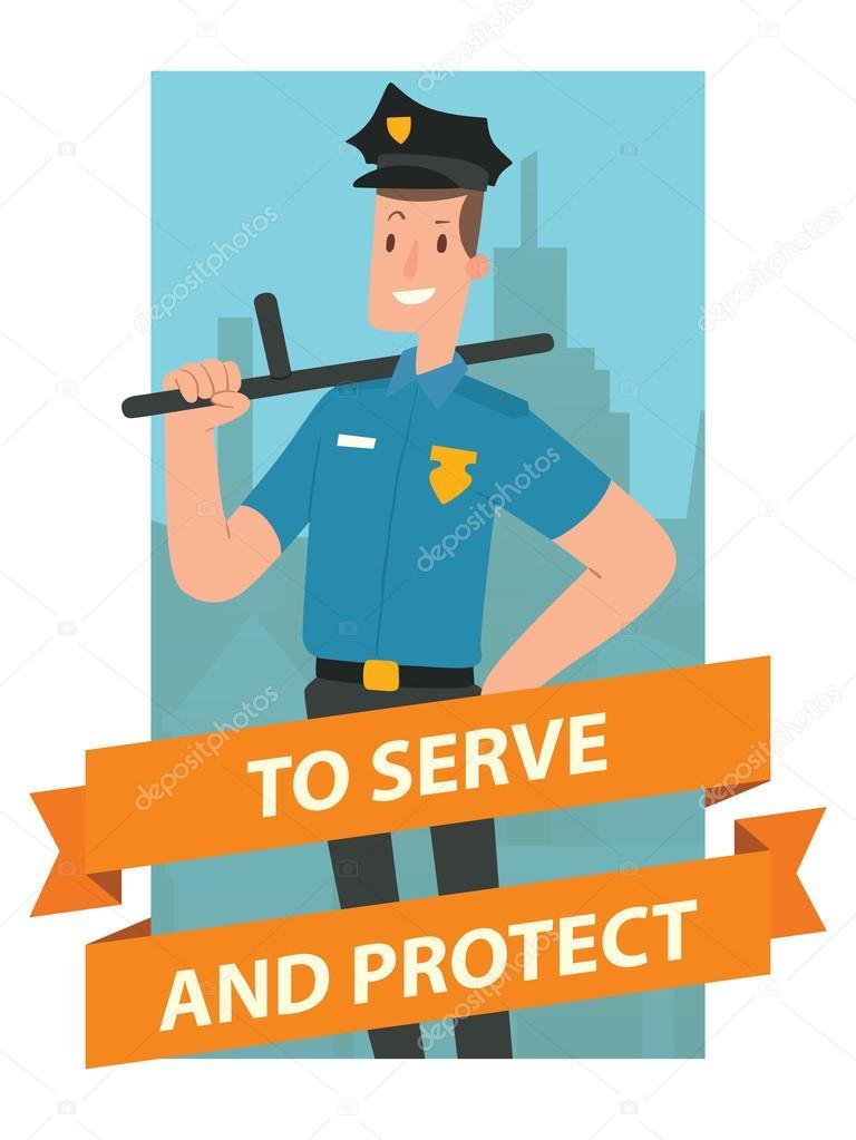 Marco rectangular azul, oficial de policía de hombre con bastón ...