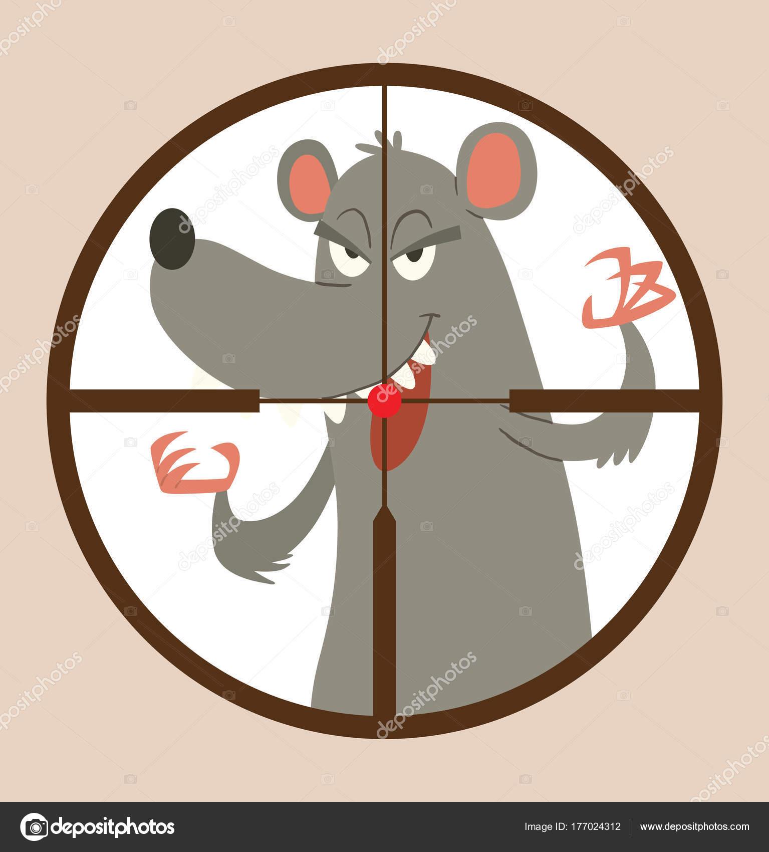 Runder schwarzer Rahmen, lustige graue Ratte erschreckend jemand ...