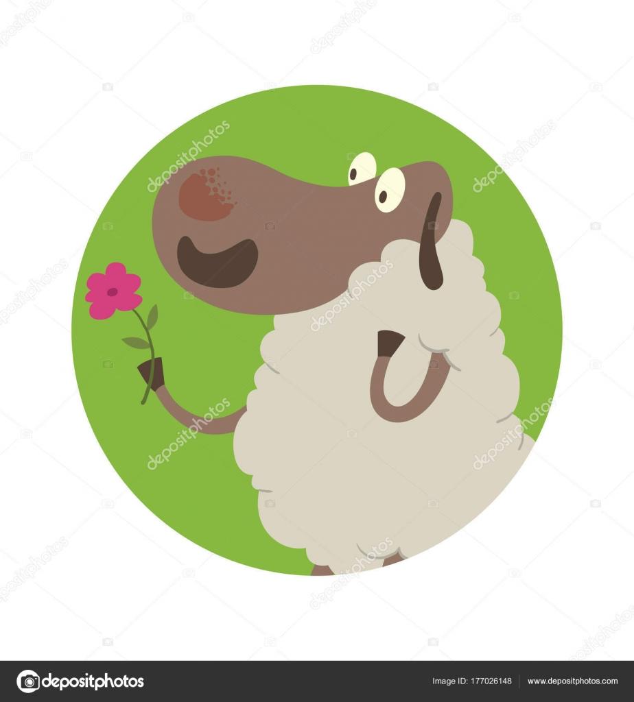 Runde grüne Rahmen, lustige Schafe mit rosa Blume — Stockvektor ...
