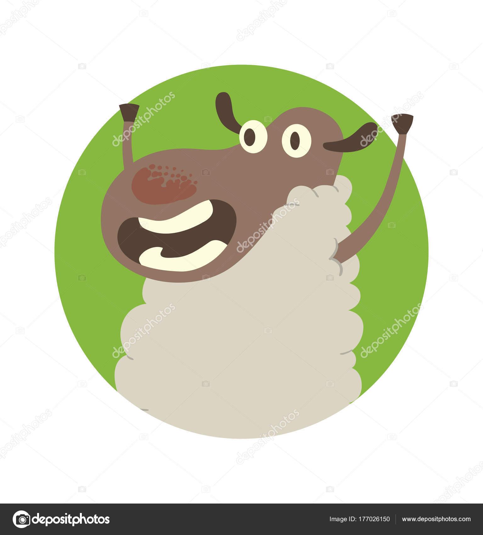 Runde grüne Rahmen, lustige Schafe mit ihren Vorderhufen bis ...