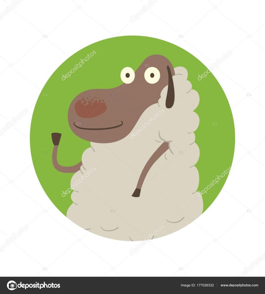 Runde grüne Rahmen, lustige Schafe winken ihr Huf — Stockvektor ...