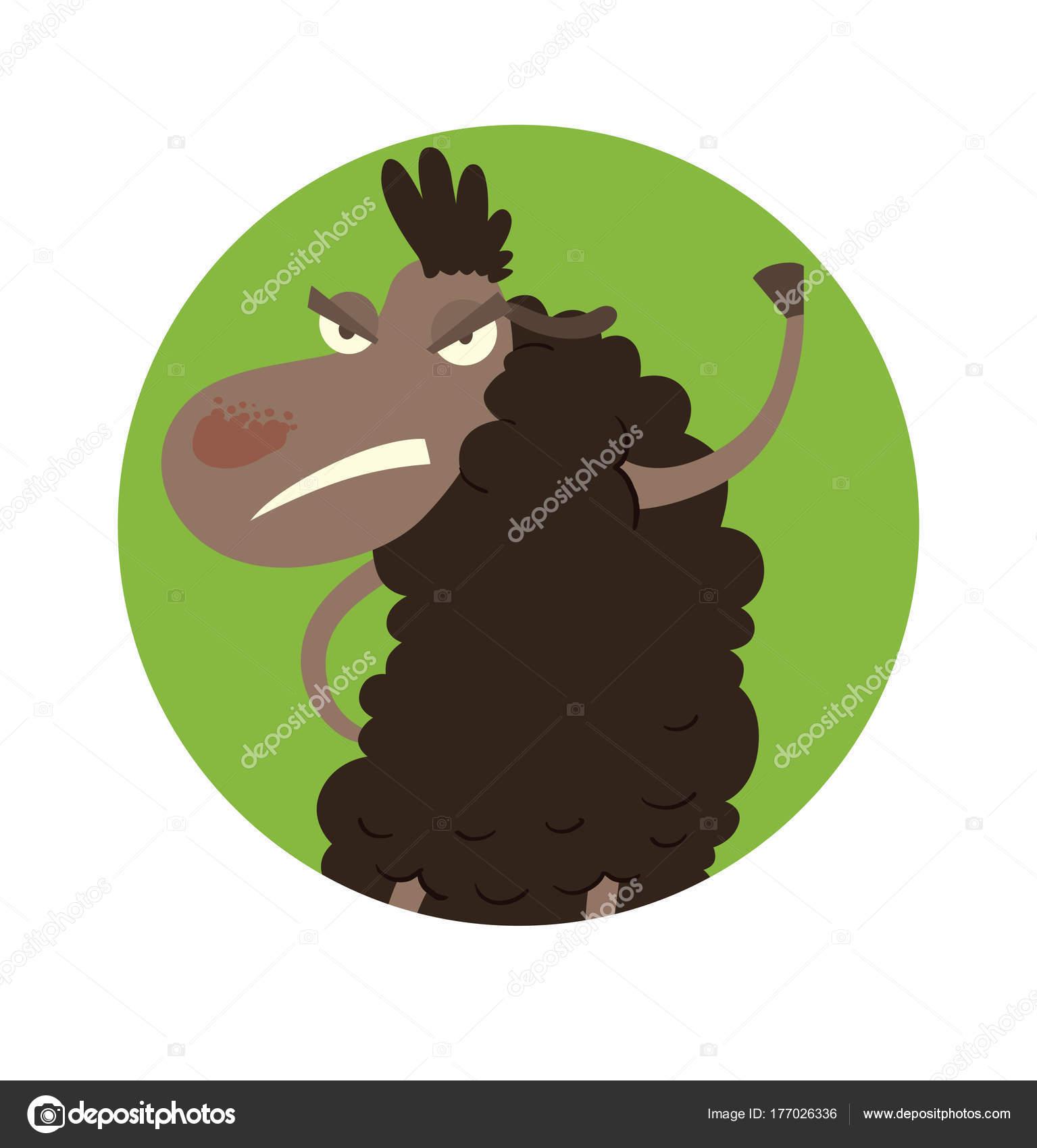 Runde grüne Rahmen, lustige böse schwarze Schafe — Stockvektor ...