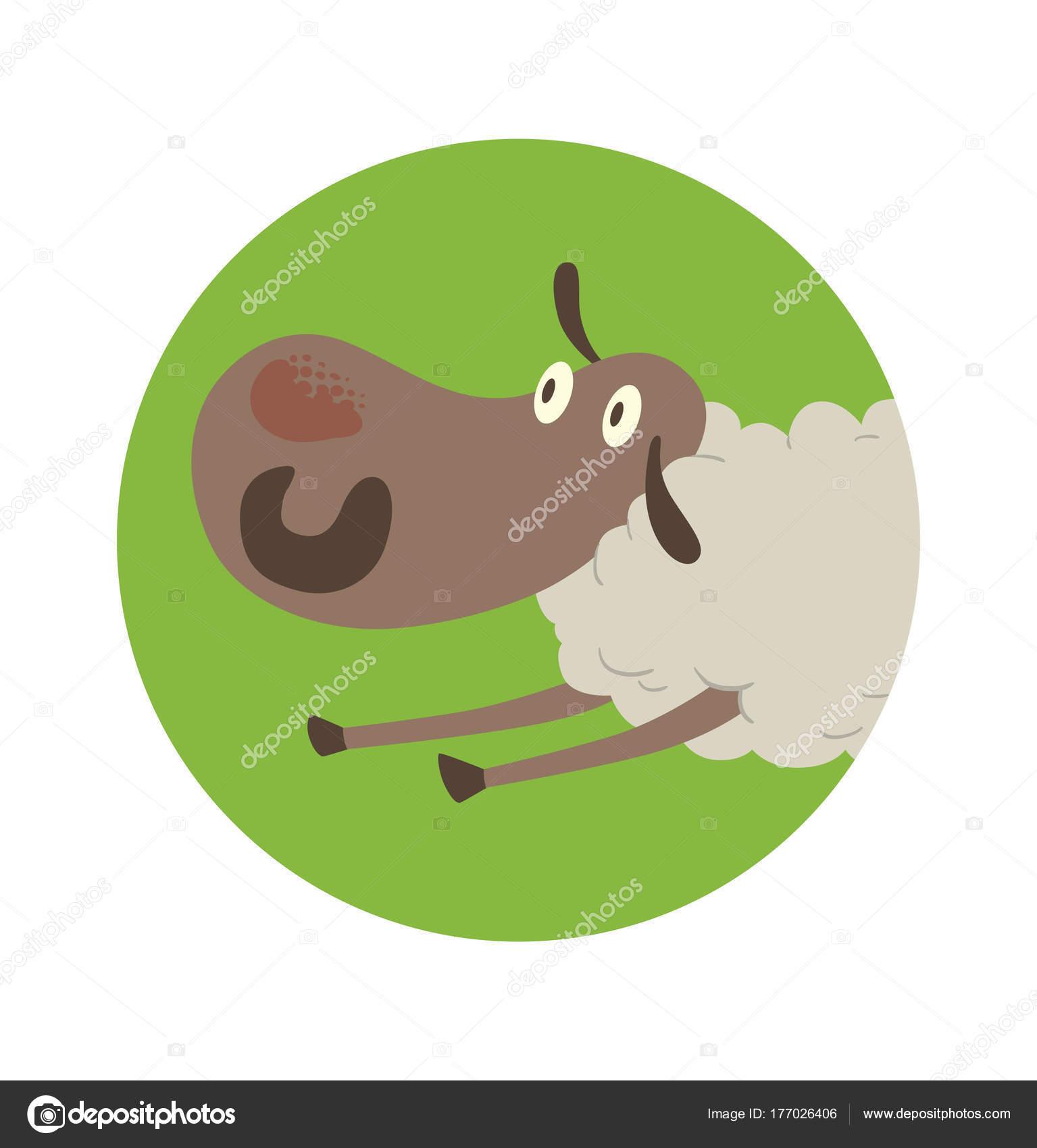 Runde grüne Rahmen, lustige Schaf liegend auf dem Bauch ...