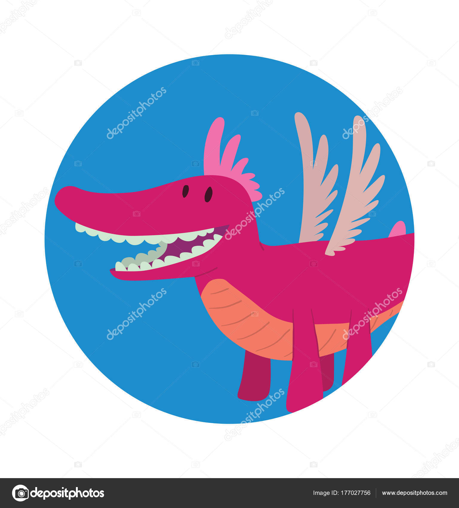 Runde Rahmen, lustige rosa Drachen — Stockvektor © tannilion.gmail ...