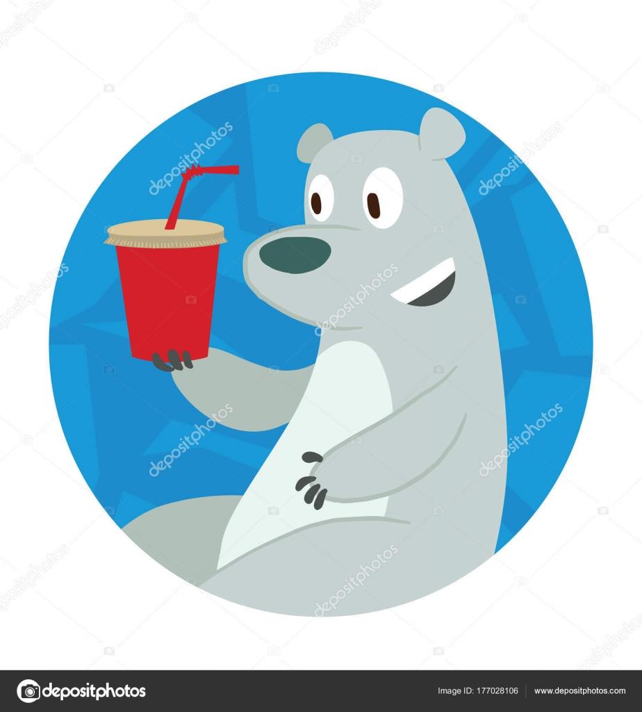 Marco de hielo redondo, lindo oso polar con un vaso rojo — Archivo ...