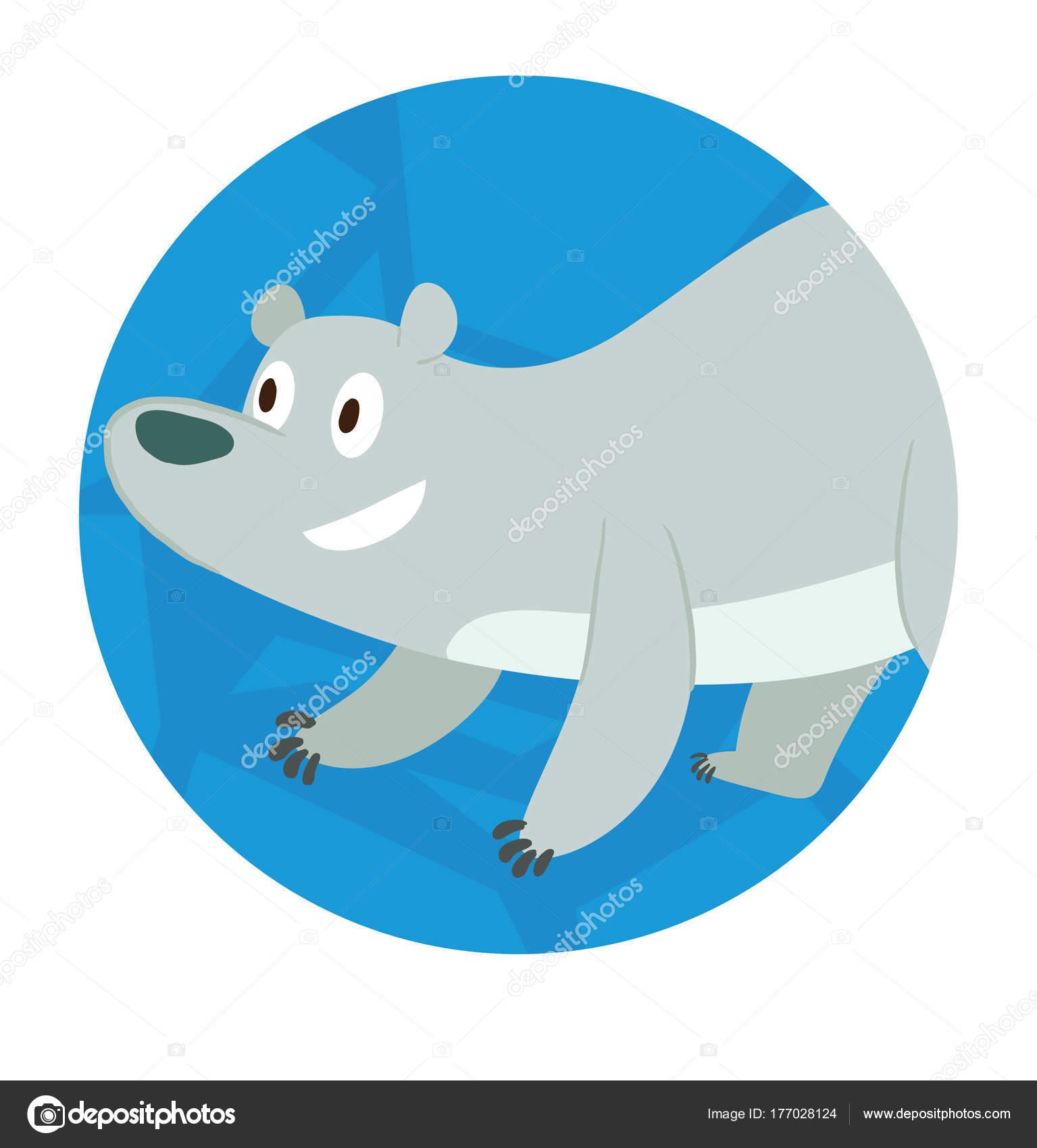 Marco de hielo redondo, lindo oso polar parado en cuatro patas ...