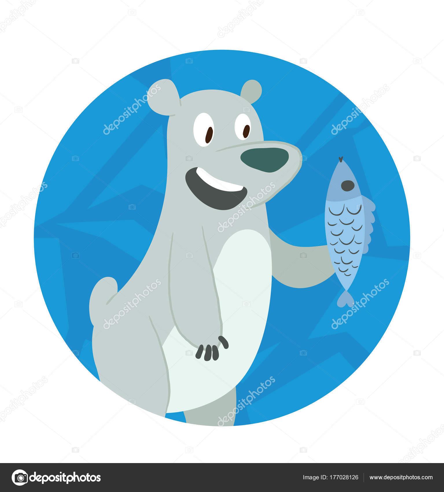 Marco de hielo redondo, lindo oso polar con un pez — Vector de stock ...