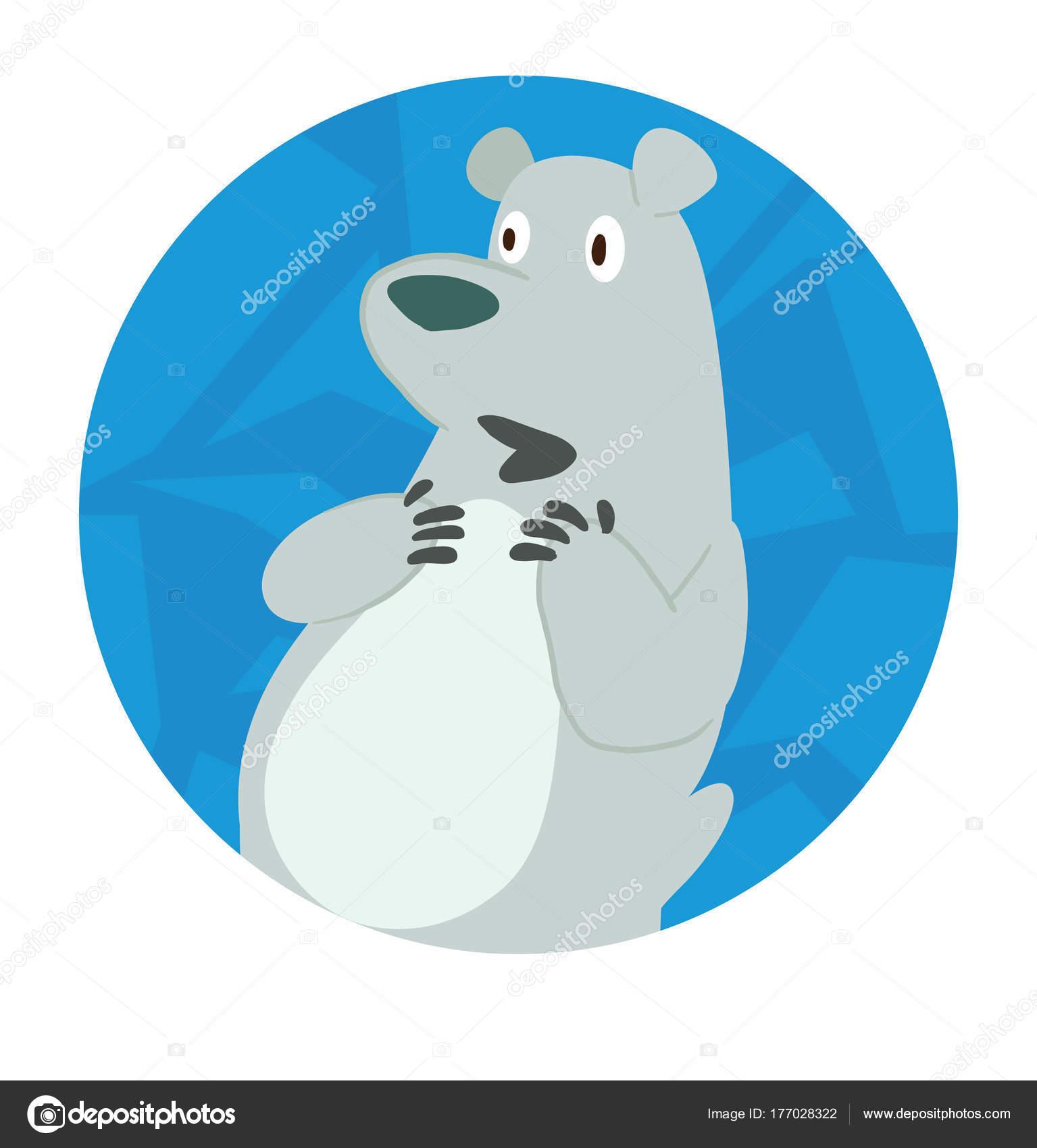 Marco de hielo redondo, lindo oso polar preguntando algo — Vector de ...