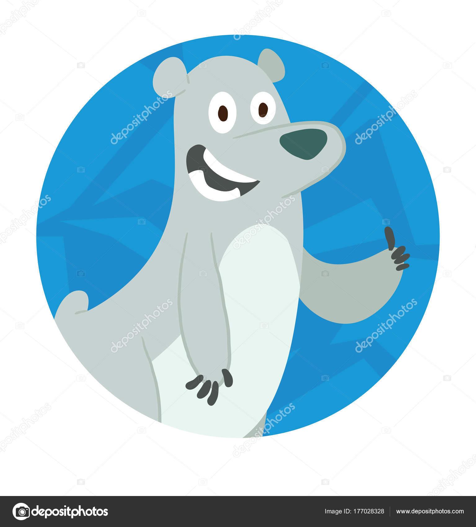 Marco de hielo redondo, lindo oso polar que muestra su pulgar ...
