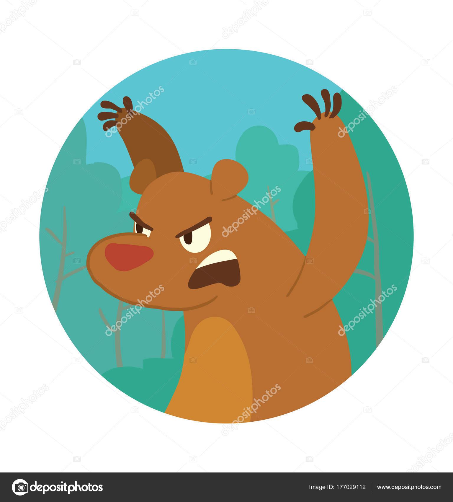 Runde Rahmen, niedliche braune wütenden Bären erschreckend jemand ...