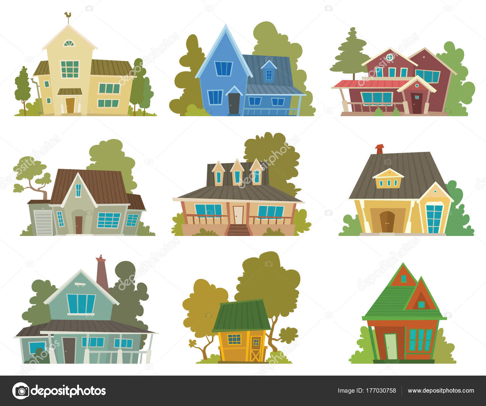 conjunto de casas coloridas bonitos vetores de stock tannilion