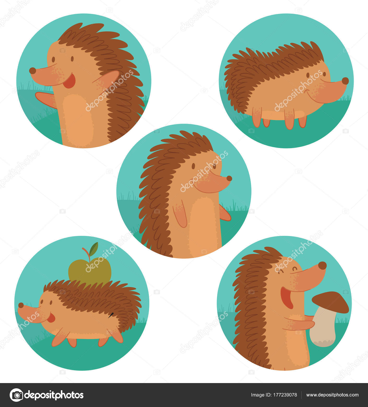 Five round frames with funny brown hedgehogs — Stock Vector ...