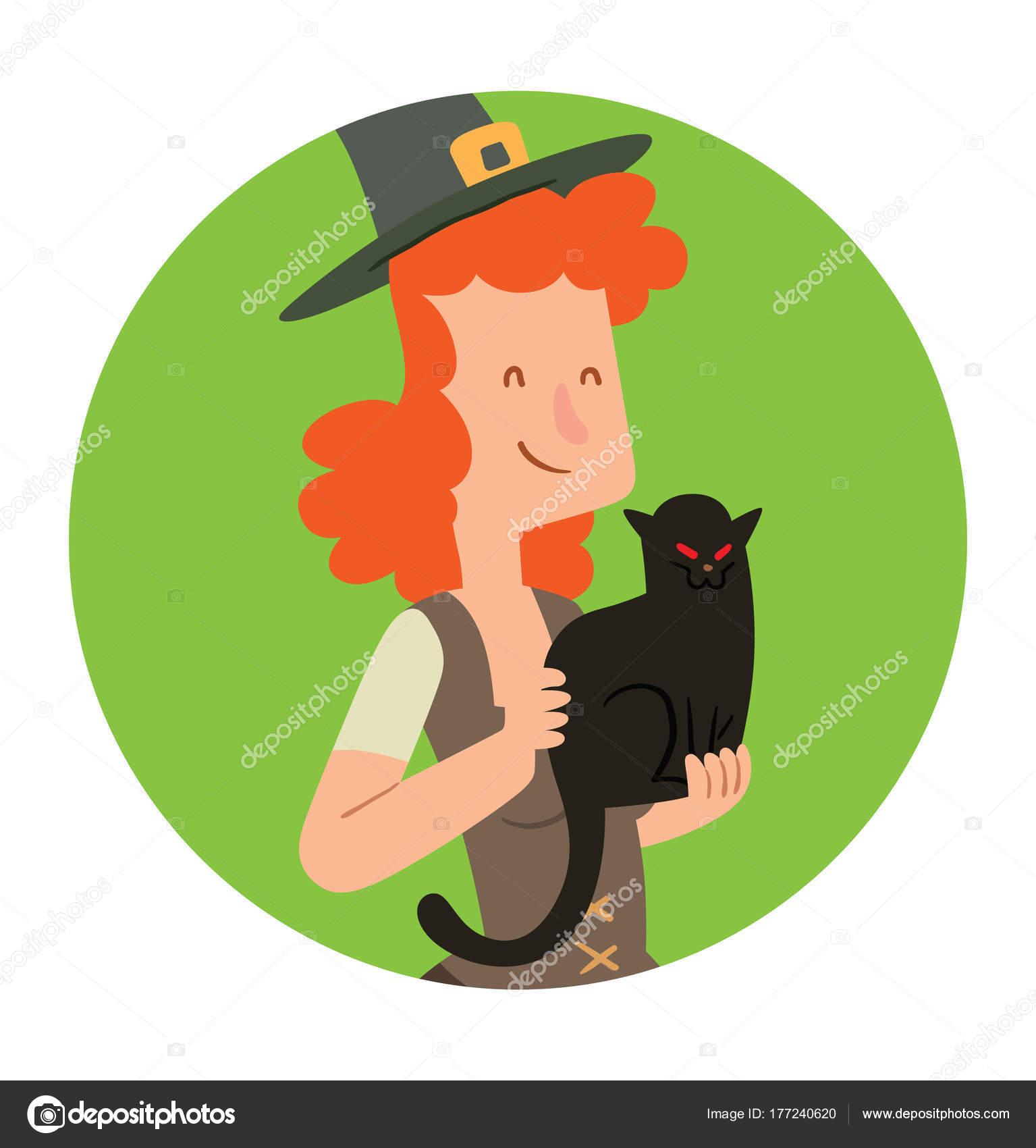 Marco redondo, divertida bruja con un gato negro — Archivo Imágenes ...