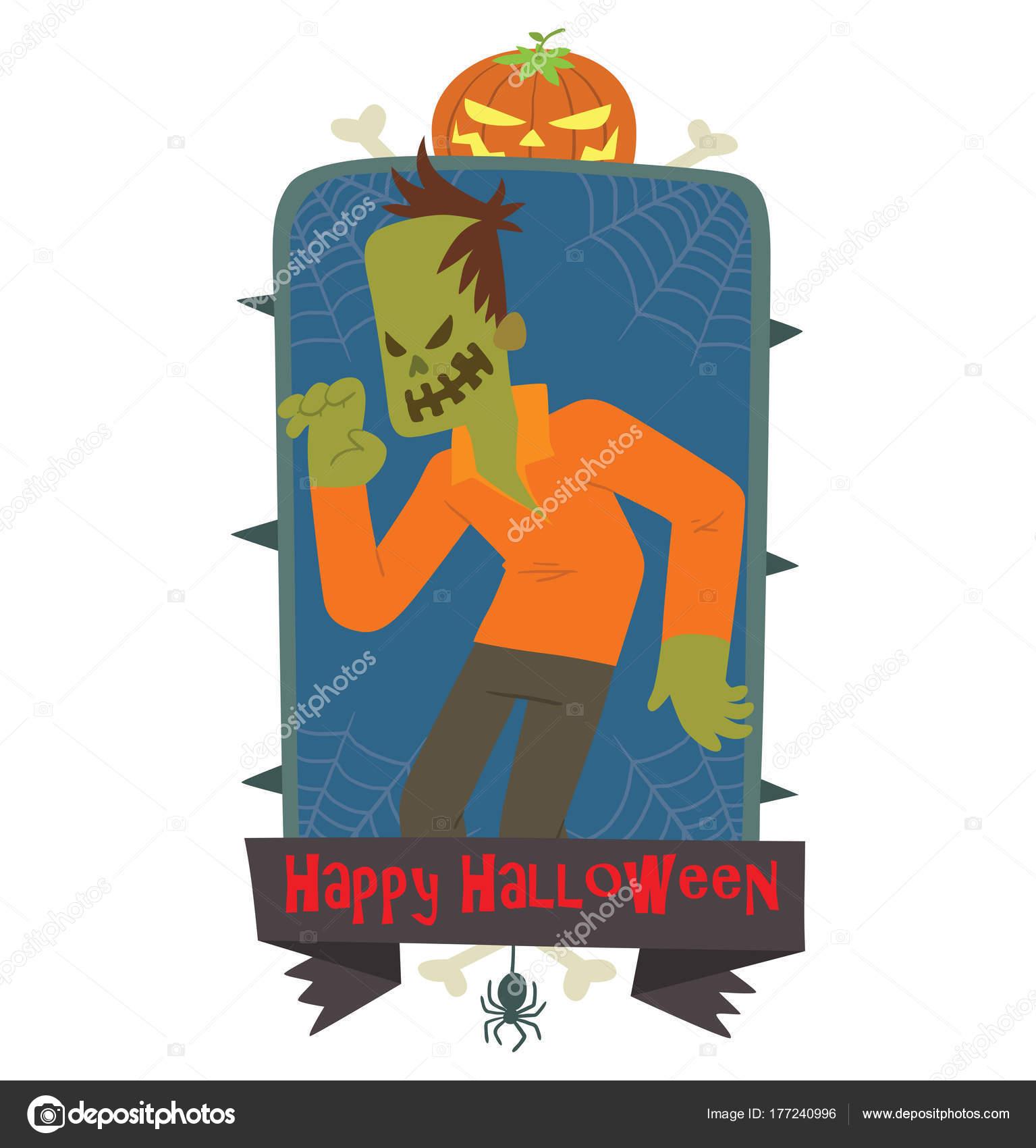 Runder blauer Rahmen, lustige Zombie erschreckend jemand ...