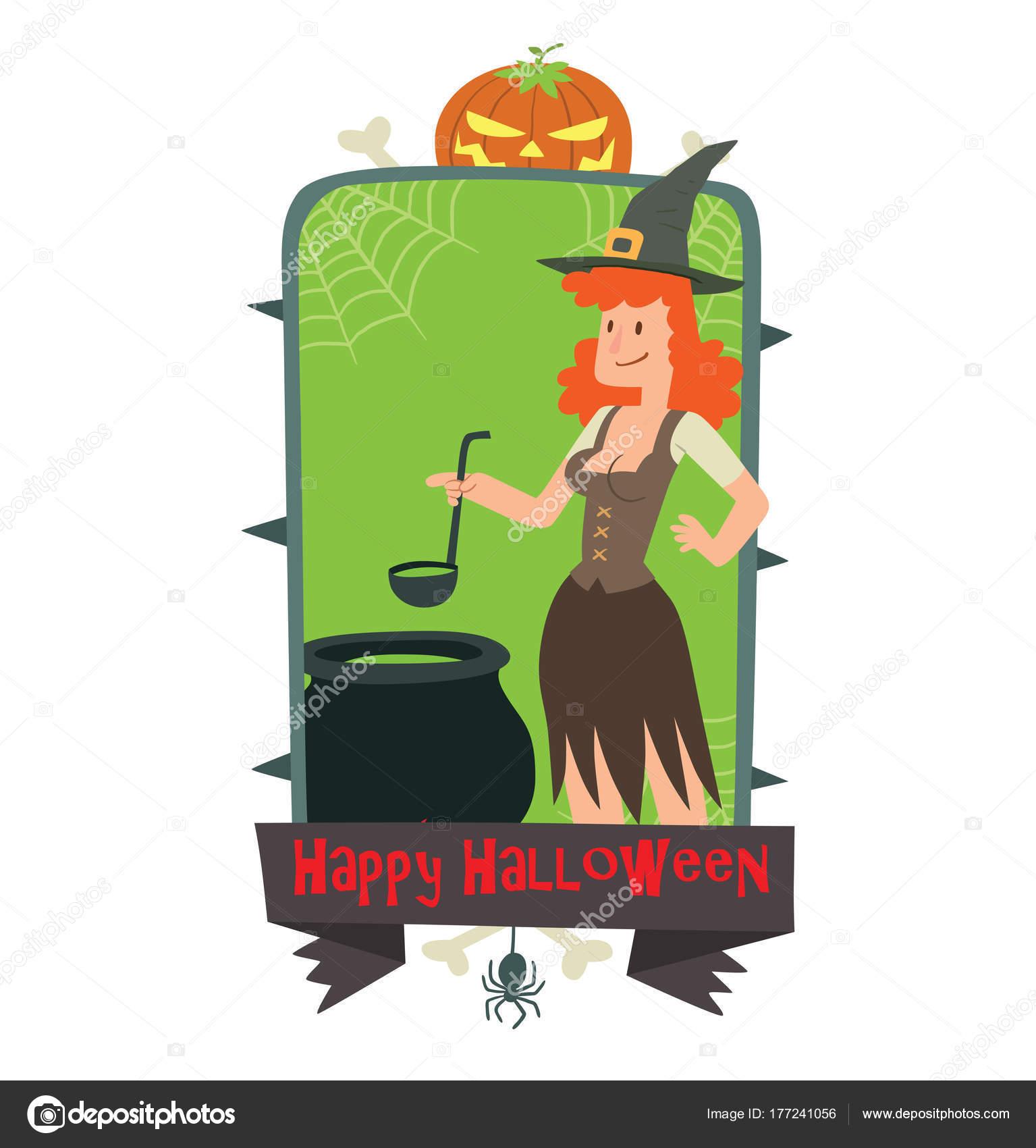 Emblème Happy Halloween Sorcière Drôle Avec Un Chaudron
